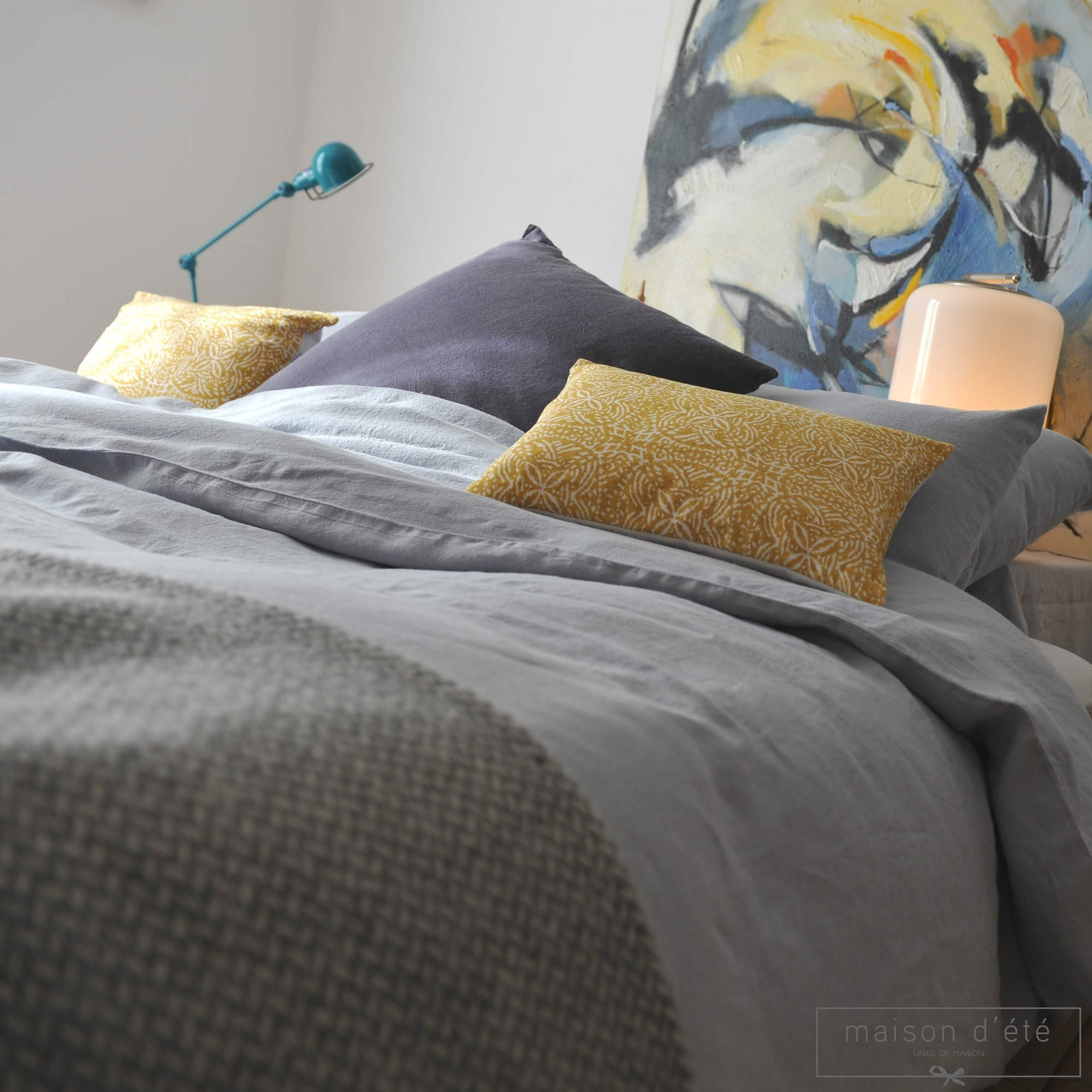 housse de couette lin lav galet. Black Bedroom Furniture Sets. Home Design Ideas