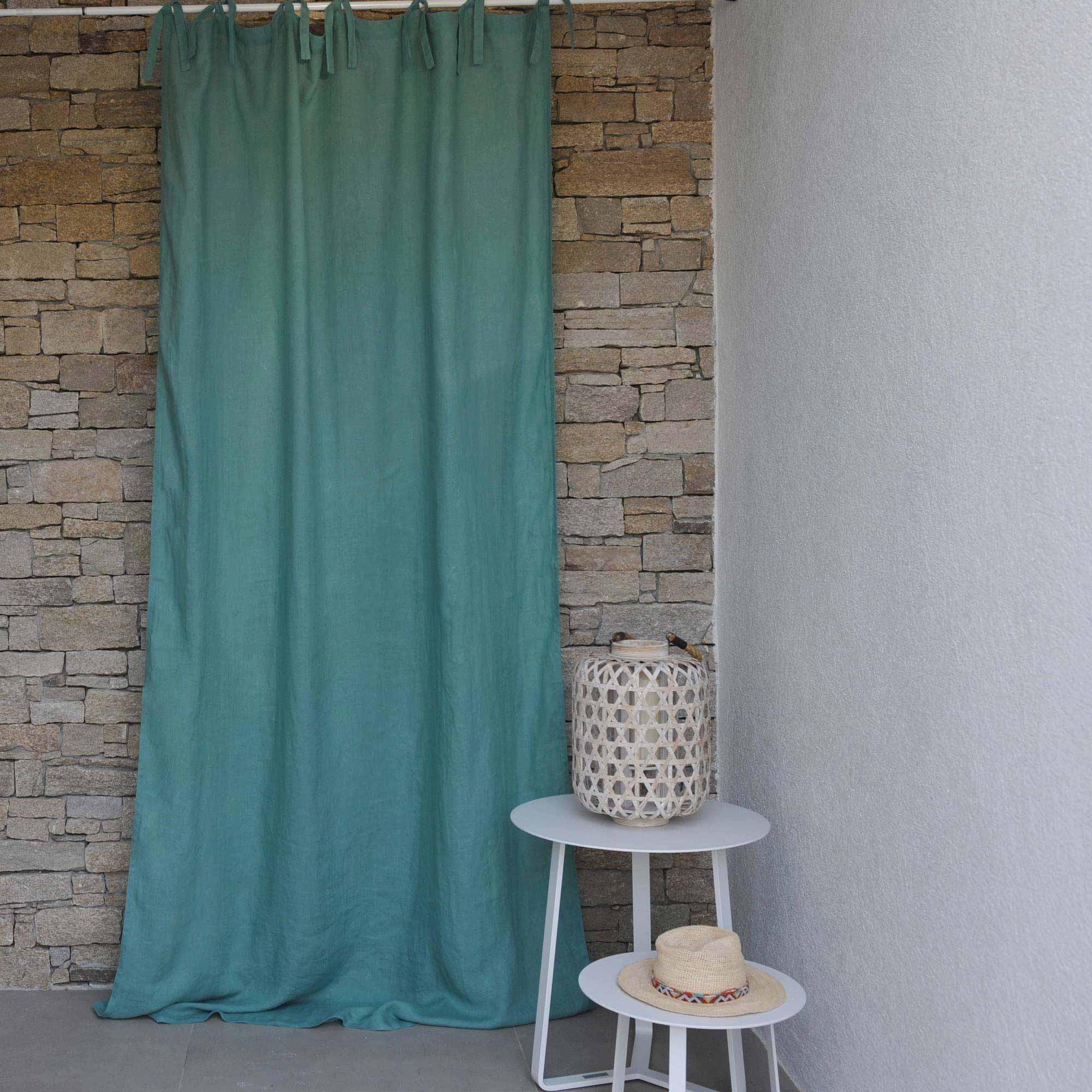 rideau lin lav aqua maison d 39 t. Black Bedroom Furniture Sets. Home Design Ideas
