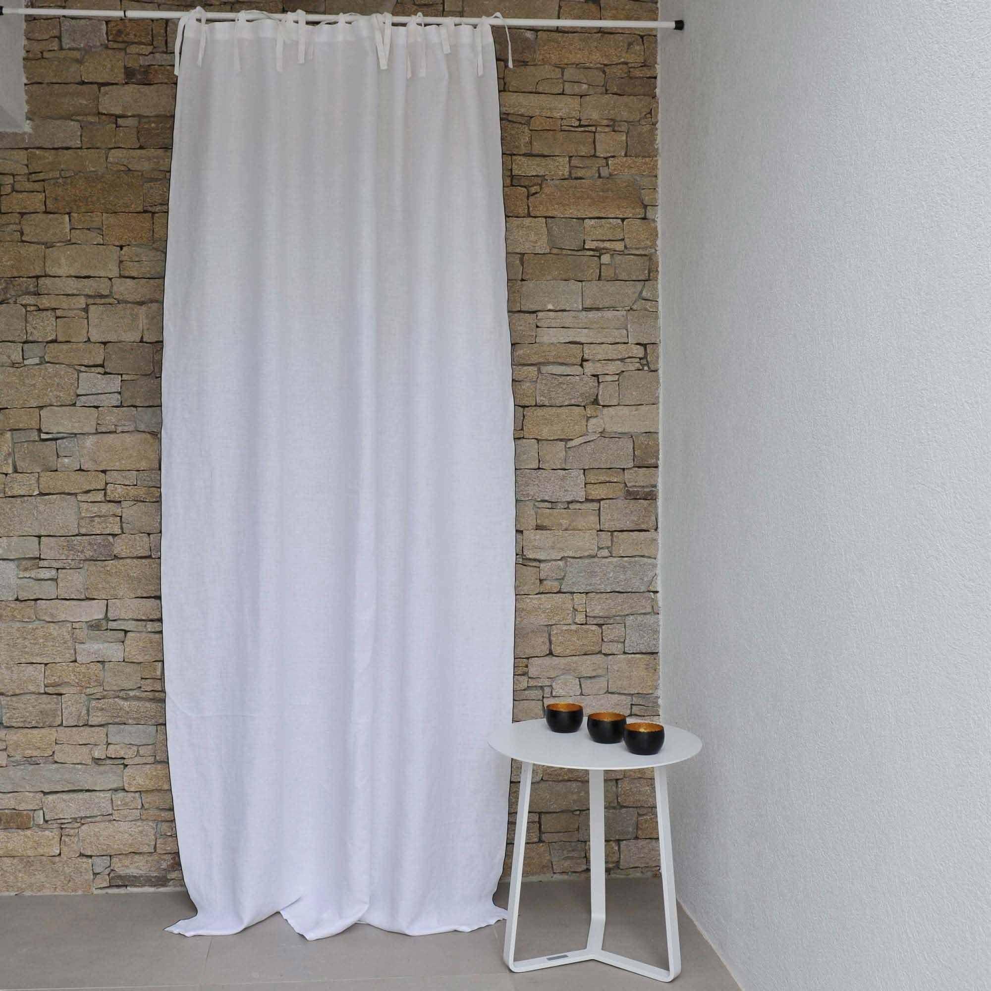 rideau lin blanc bourdon noir. Black Bedroom Furniture Sets. Home Design Ideas