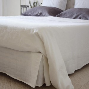 White washed linen bed base cover