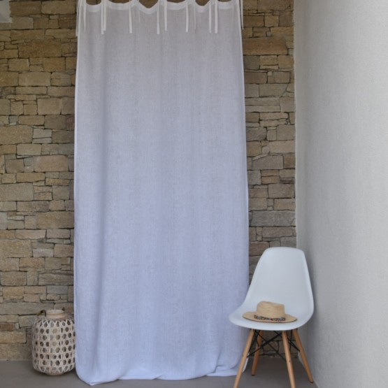 White fine linen gauze curtain