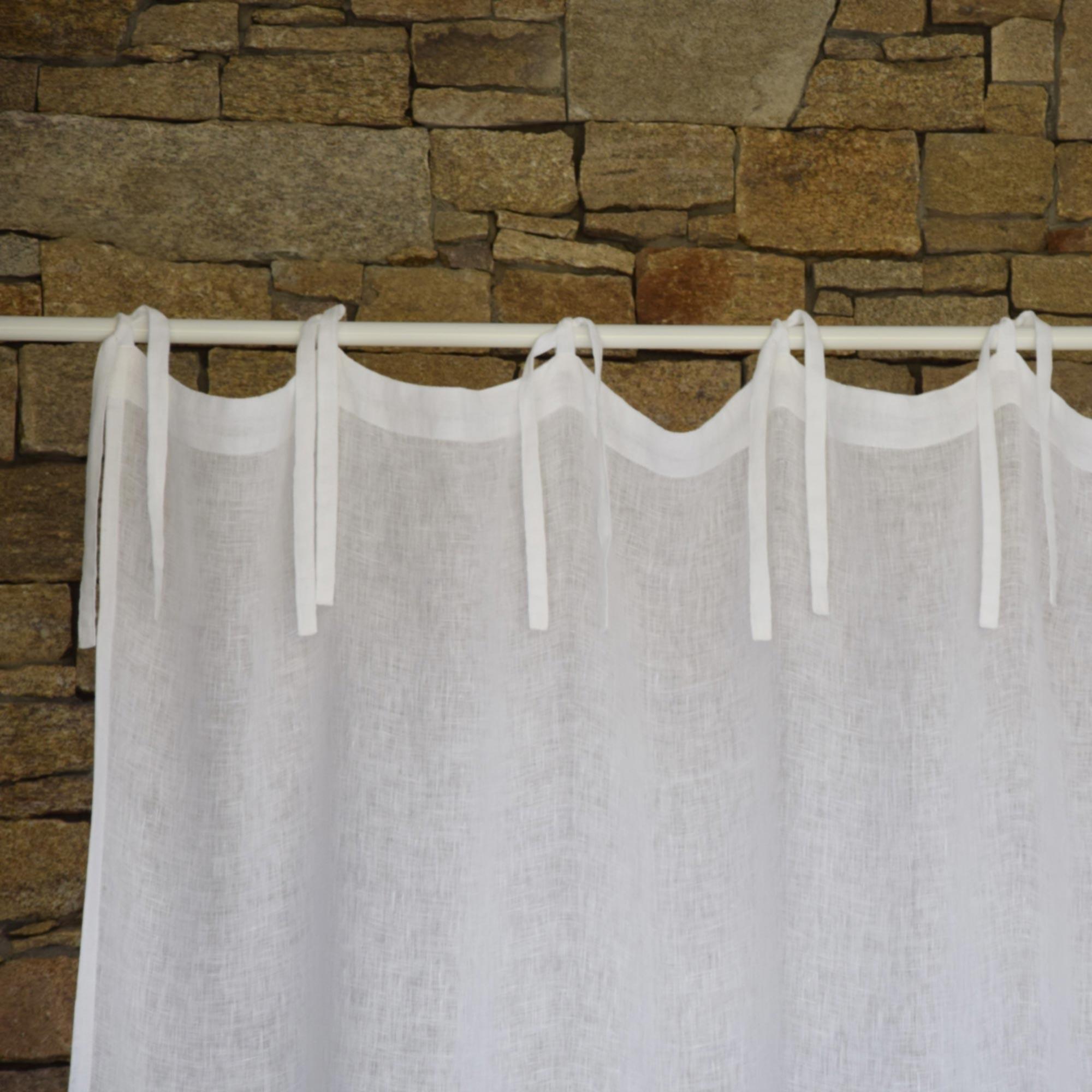 rideau gaze de lin blanc maison d 39 t. Black Bedroom Furniture Sets. Home Design Ideas