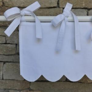 Mini cantonnière feston coton blanc
