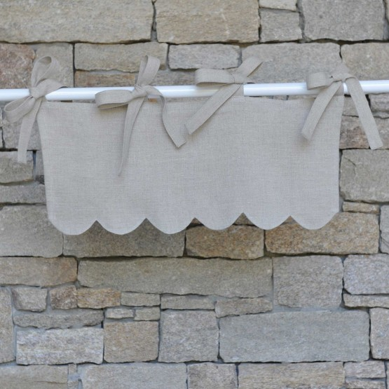 Natural linen festooned mini valance