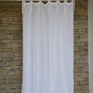 White washed linen gauze curtain