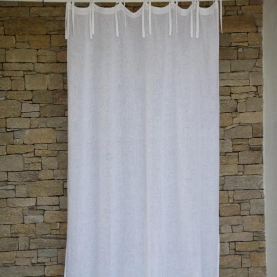 White washed linen gauze curtain