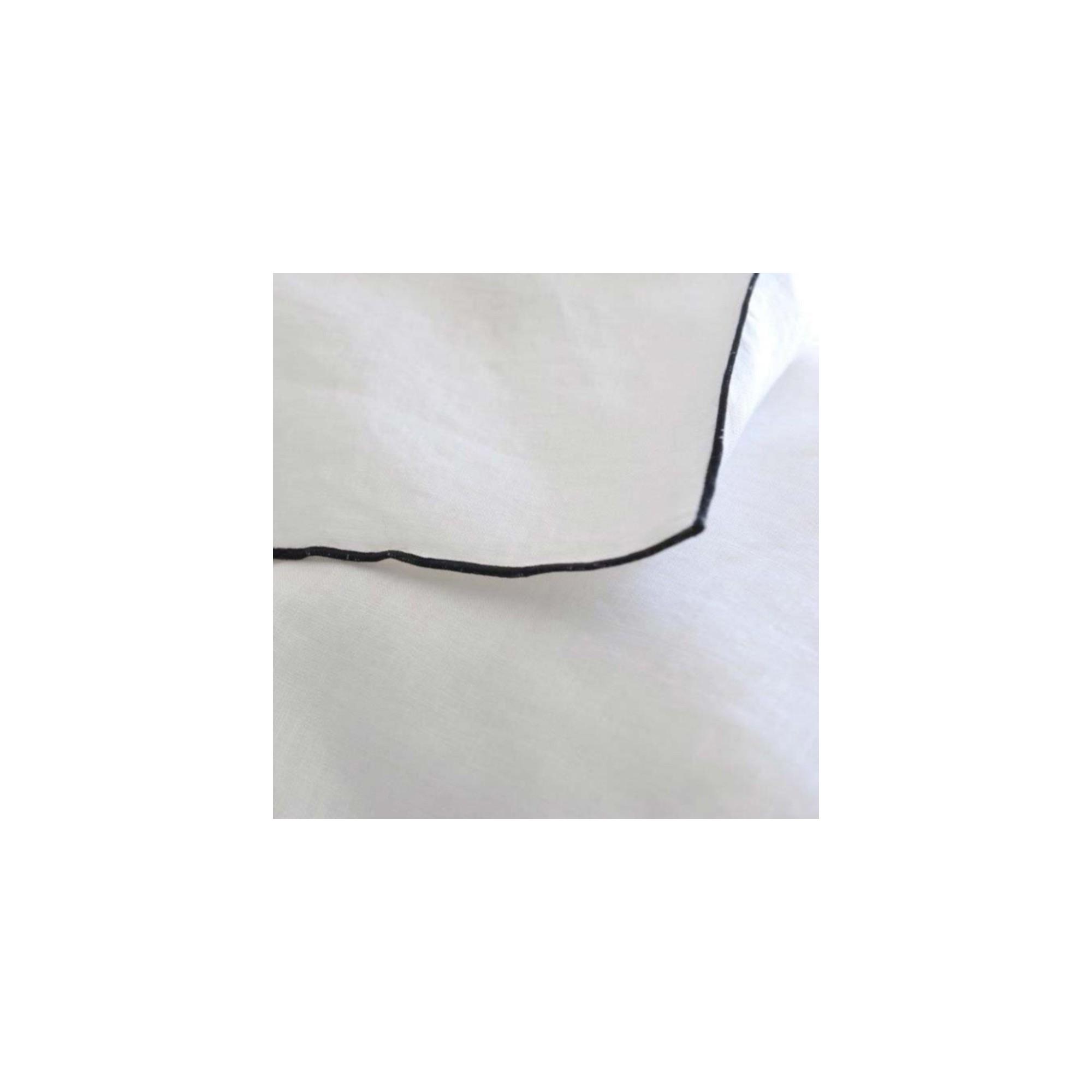 taie d 39 oreiller lin lav blanc bourdon noir maison d 39 t. Black Bedroom Furniture Sets. Home Design Ideas