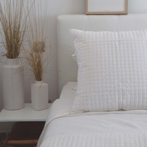 White and natural satin stitch pillow case
