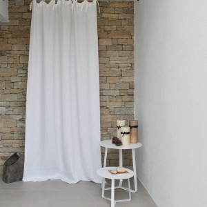 White washed linen curtain with natural bourdon stitching