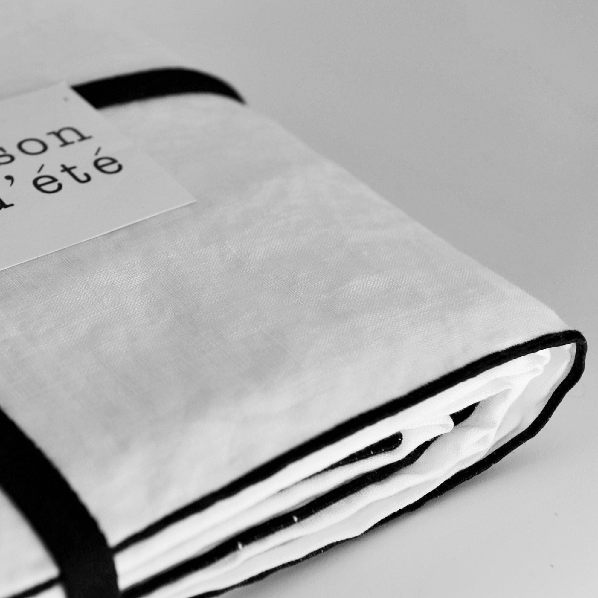 white washed linen comforter cover with black bourdon. Black Bedroom Furniture Sets. Home Design Ideas