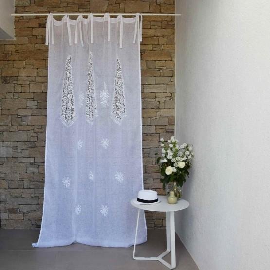 876836c9d726 Rideau Nantes blanc en gaze de lin - Maison d été