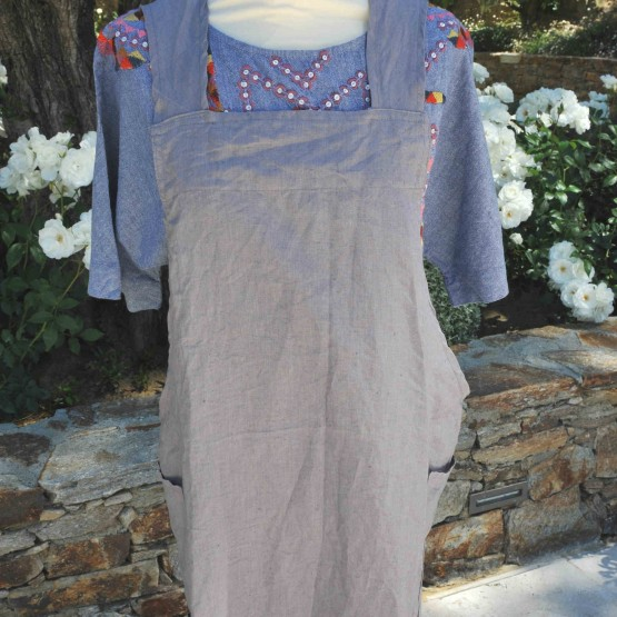 Elephant gray washed linen Japanese apron