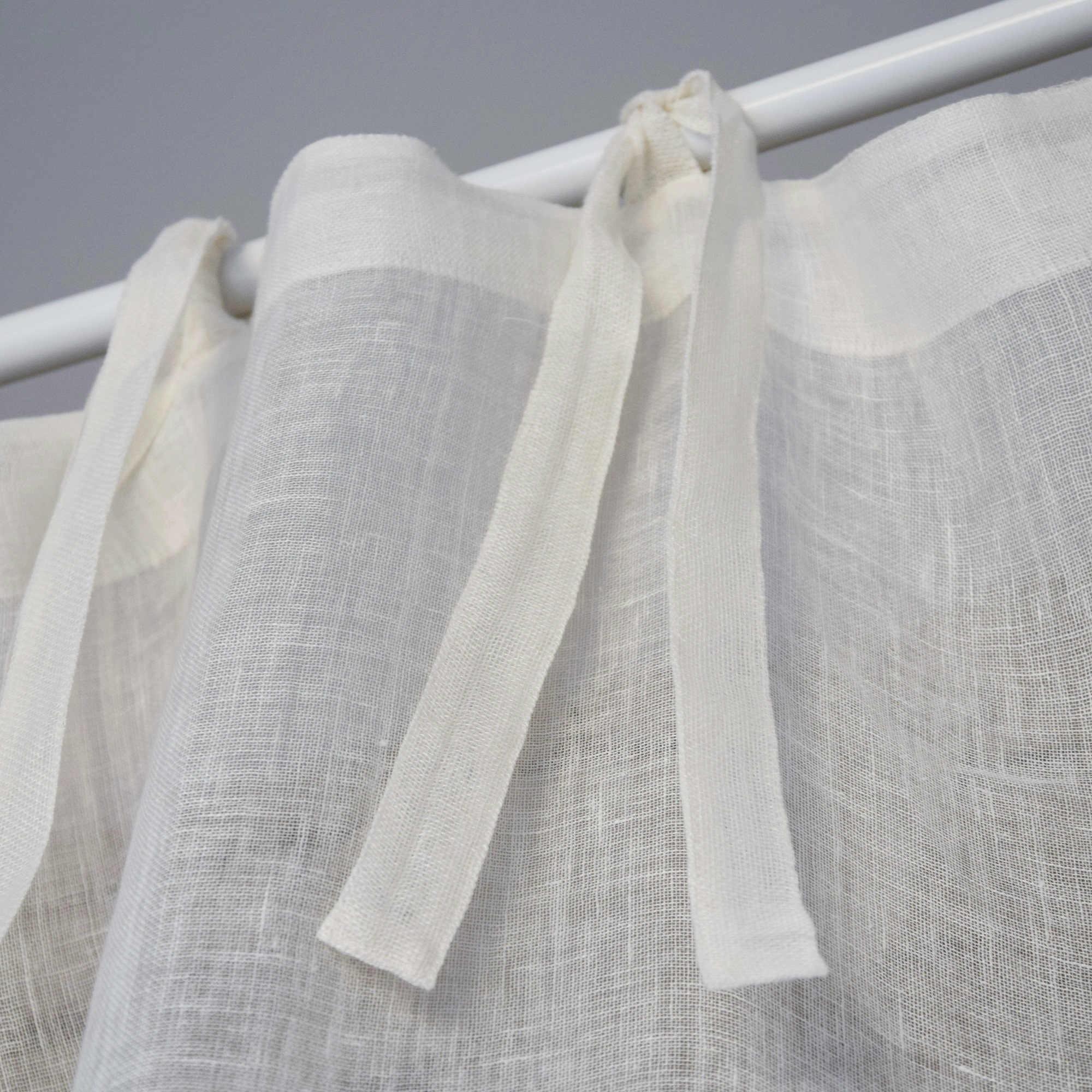 ivory fine linen gauze curtain. Black Bedroom Furniture Sets. Home Design Ideas