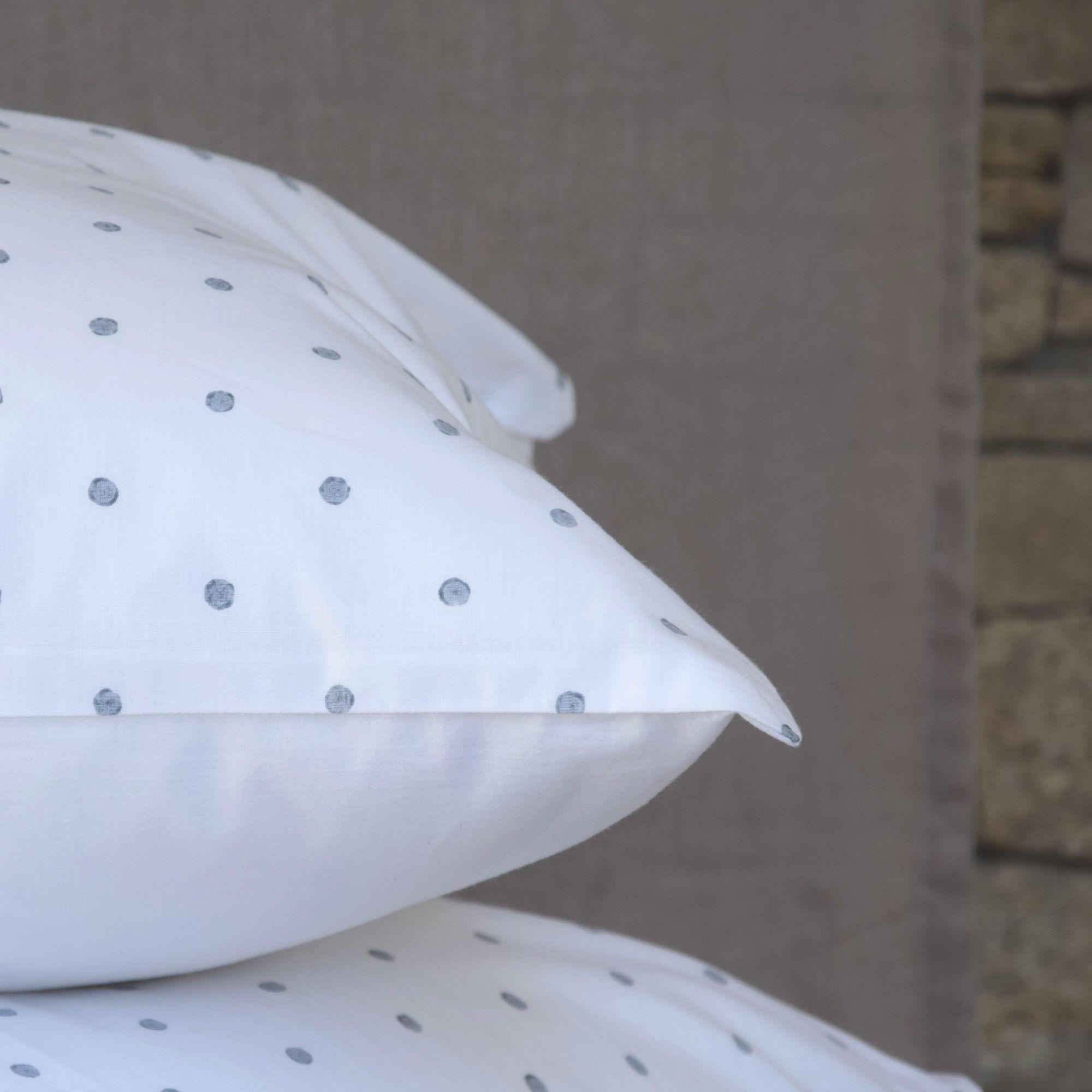 White cotton pillowcase gray pea