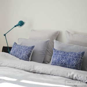 Pearl gray washed linen pillow case