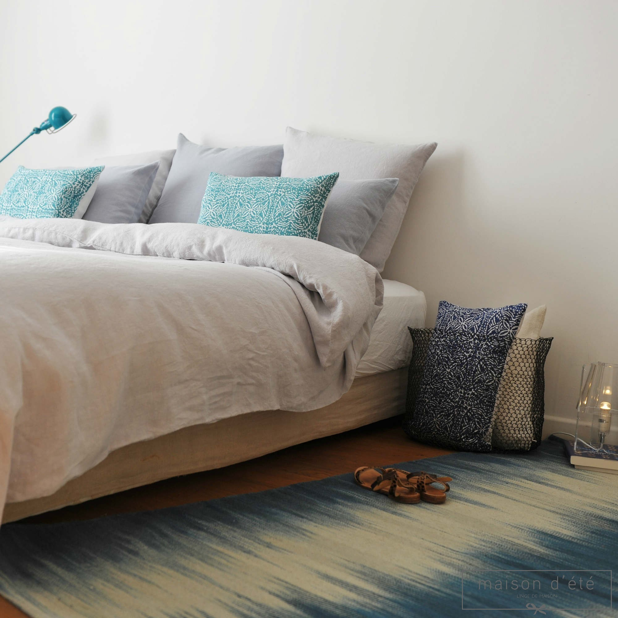 taie d 39 oreiller lin lav gris perle. Black Bedroom Furniture Sets. Home Design Ideas