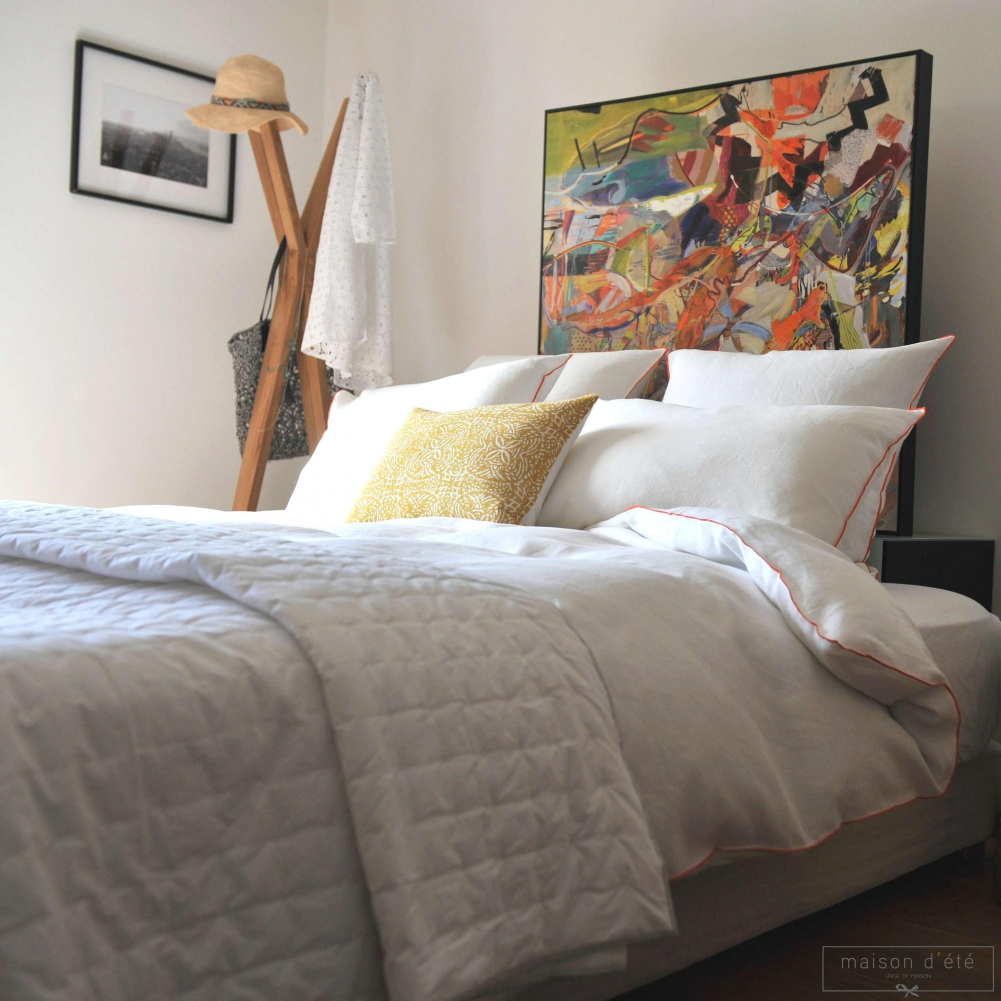 housse de couette lin lav blanc bourdon orange maison d 39 t. Black Bedroom Furniture Sets. Home Design Ideas