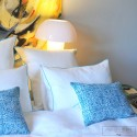 White washed linen comforter cover with turquoise bourdon stitching