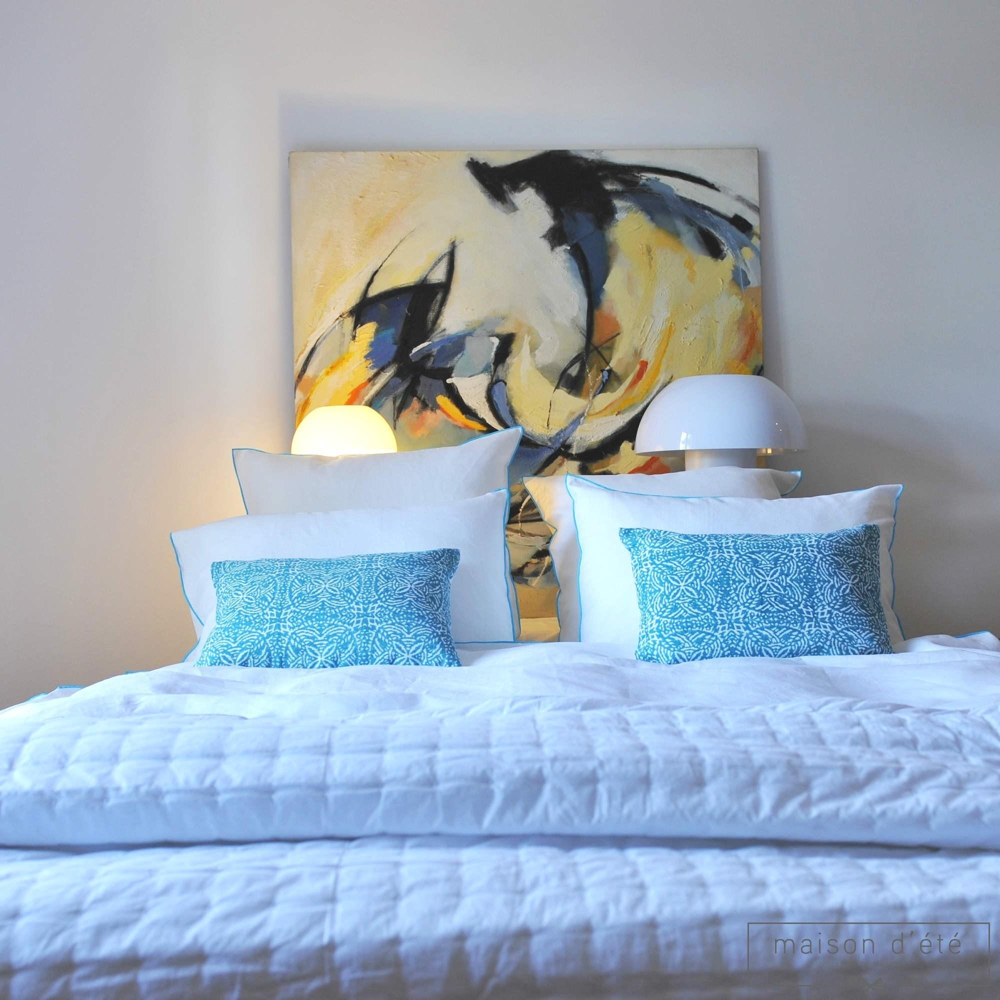 housse de couette lin lav blanc bourdon turquoise maison d 39 t. Black Bedroom Furniture Sets. Home Design Ideas