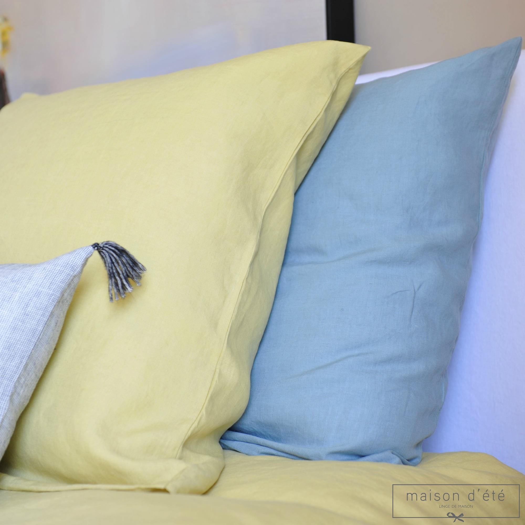 taie d 39 oreiller en lin jaune de lima. Black Bedroom Furniture Sets. Home Design Ideas