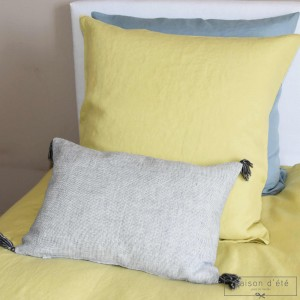 Taie d'oreiller en lin lavé jaune de Lima