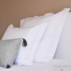 White percale pillowcase 500 TC embroidery awl