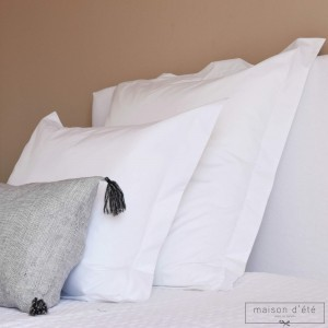 White percale pillowcase 500 TC embroidery awl