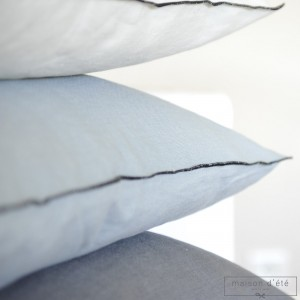 pebble gray linen cushion 35x50 with black bourdon stitching