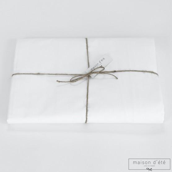 Drap housse en percale de coton blanc 200 fils/cm²