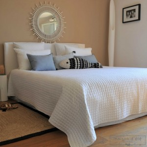 White gray satin stitch bedspread