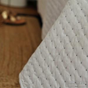 Dessus de lit Plumetis blanc - gris