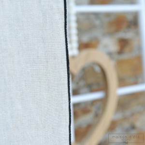 Natural washed linen curtain with black bourdon stitching