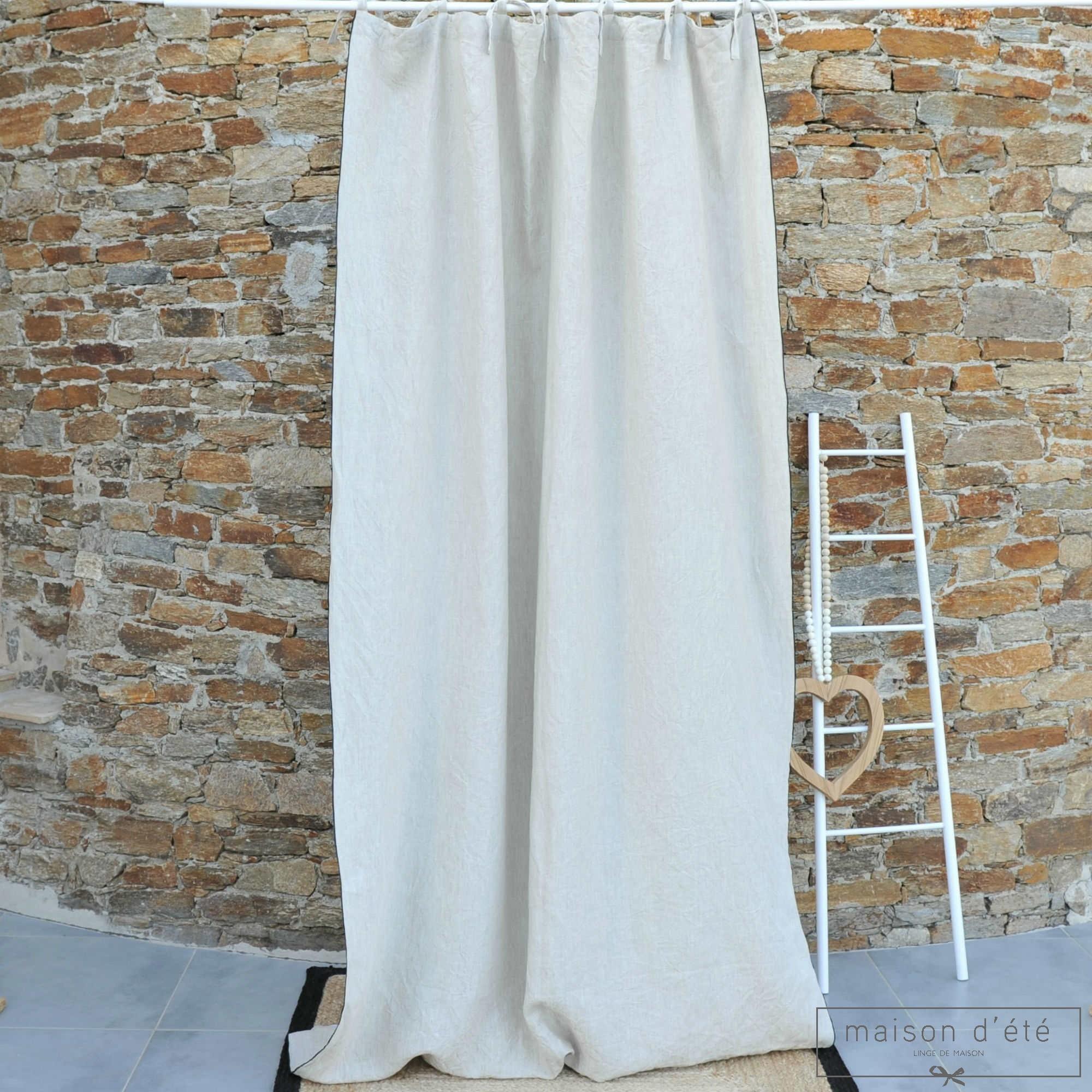 rideau en lin lav pais naturel bourdon noir maison d 39 t. Black Bedroom Furniture Sets. Home Design Ideas