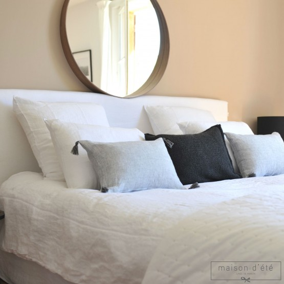 White washed linen comforter cover