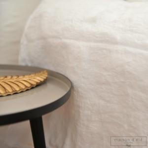 Housse de couette en lin lavé blanc