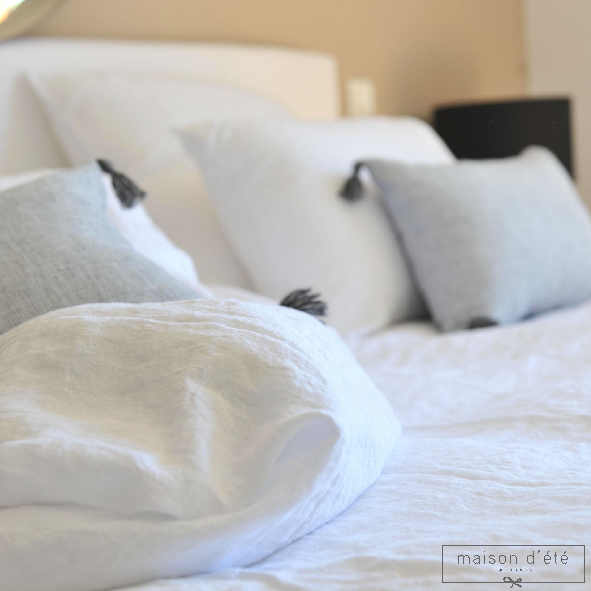 taie d 39 oreiller en lin lav blanc par maison d 39 t
