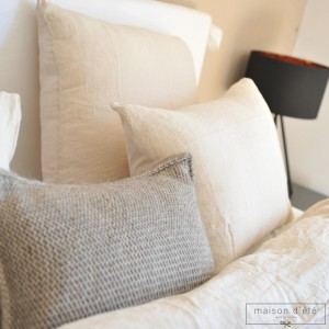 Beige washed linen pillowcases