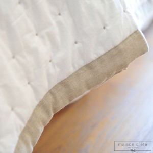 Marion white bedspread - natural satin stitch and surround