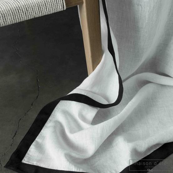 Rideau Nice lin lavé blanc bords noirs