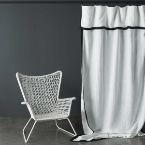 White washed linen curtain Nice black edge