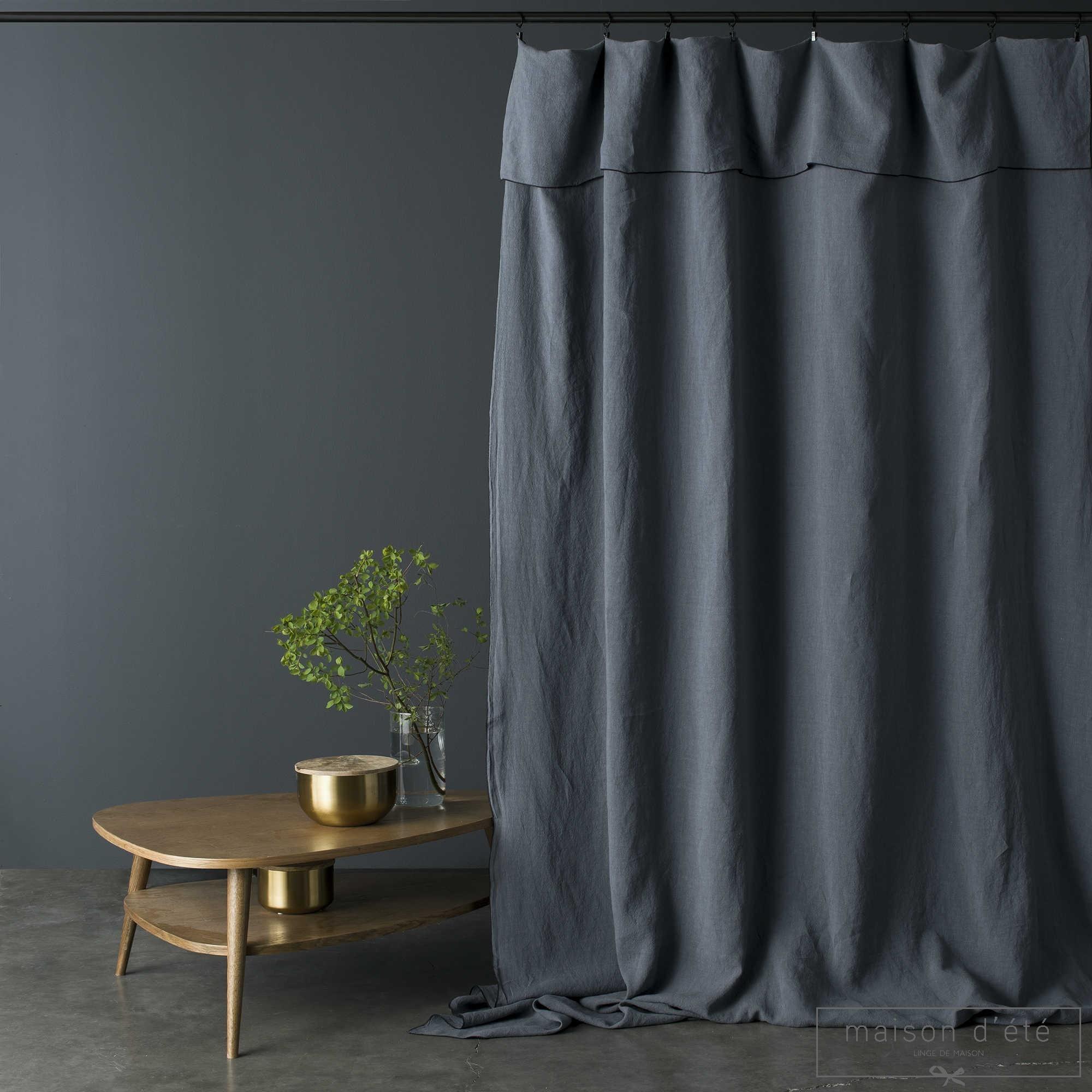rideau lin lav bleu nuit bourdon noir. Black Bedroom Furniture Sets. Home Design Ideas