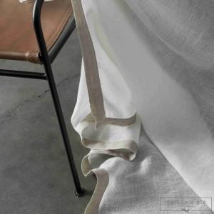 RIdeau Paris gaze de lin blanche bord lin naturel