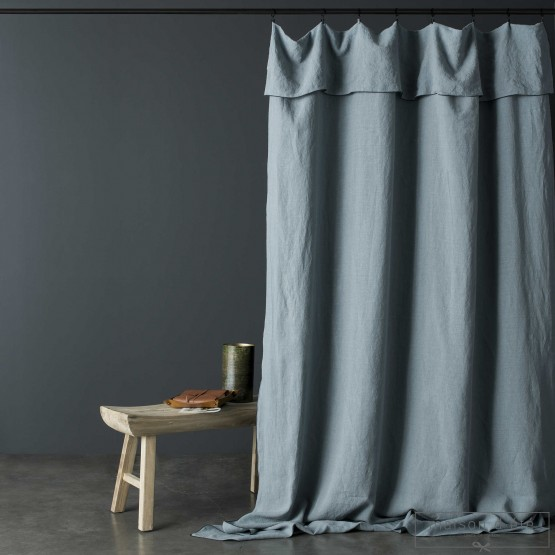 Washed Linen Grey Green Curtain With Black Bumblebee