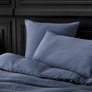 Nigth blue stone washed linen comforter cover