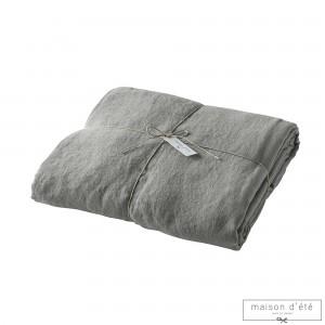 Housse de couette  lin stone washed gris souris