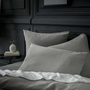 Mid grey stone washed linen comforter cover