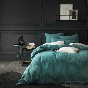 Housse de couette  lin stone washed lagon