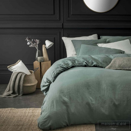 Lichen stone washed linen comforter cover
