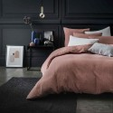 Pink masala stone washed linen comforter cover