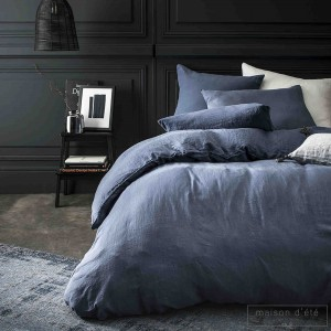 Taie d'oreiller lin stone washed bleu nuit